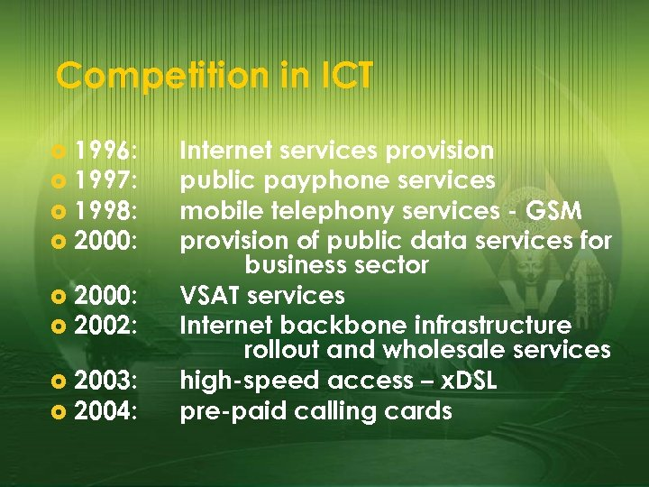 Competition in ICT 1996: £ 1997: £ 1998: £ 2000: £ 2002: £ 2003: