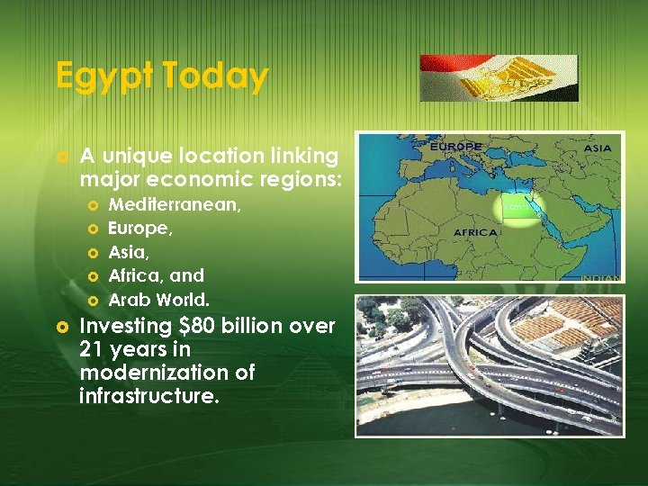 Egypt Today £ A unique location linking major economic regions: £ £ £ Mediterranean,