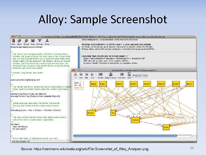 Alloy: Sample Screenshot Source: https: //commons. wikimedia. org/wiki/File: Screenshot_of_Alloy_Analyzer. png 38
