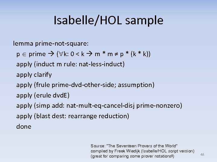 Isabelle/HOL sample lemma prime-not-square: p prime ( k: 0 < k m * m