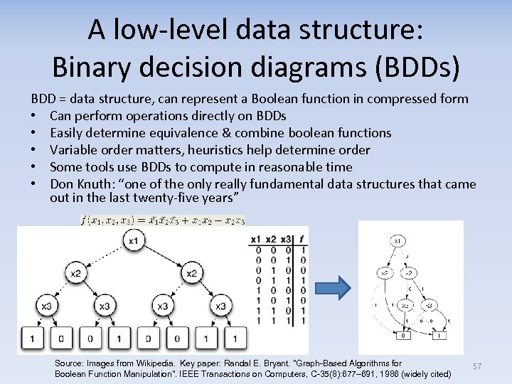 A low-level data structure: Binary decision diagrams (BDDs) BDD = data structure, can represent