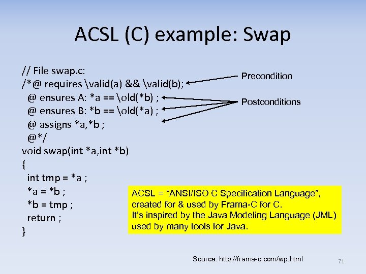 ACSL (C) example: Swap // File swap. c: Precondition /*@ requires valid(a) && valid(b);