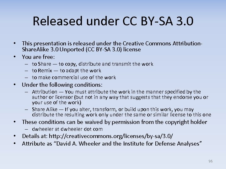 Released under CC BY-SA 3. 0 • This presentation is released under the Creative