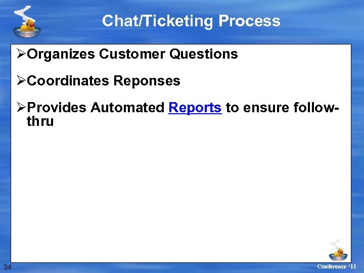 Chat/Ticketing Process ØOrganizes Customer Questions ØCoordinates Reponses ØProvides Automated Reports to ensure followthru 34