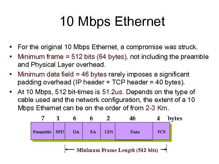 10 Mbps Ethernet • For the original 10 Mbps Ethernet, a compromise was struck.