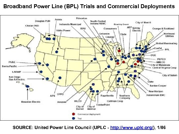 Broadband Power Line (BPL) Trials and Commercial Deployments SOURCE: United Power Line Council (UPLC