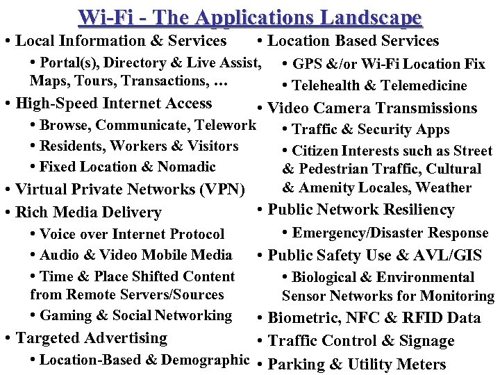 Wi-Fi - The Applications Landscape • Local Information & Services • Location Based Services