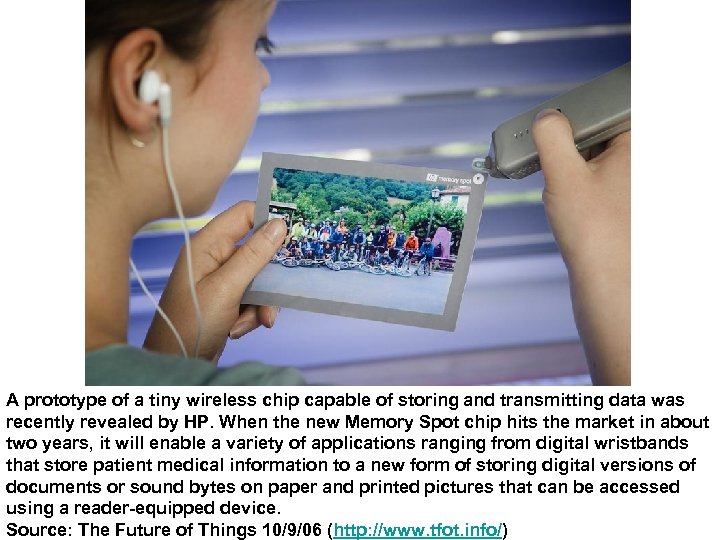 A prototype of a tiny wireless chip capable of storing and transmitting data was