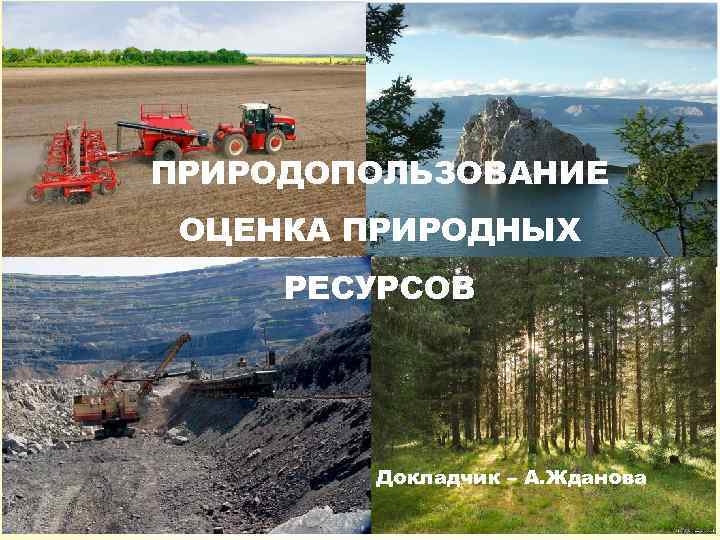 ПРИРОДОПОЛЬЗОВАНИЕ ОЦЕНКА ПРИРОДНЫХ РЕСУРСОВ Докладчик – А. Жданова