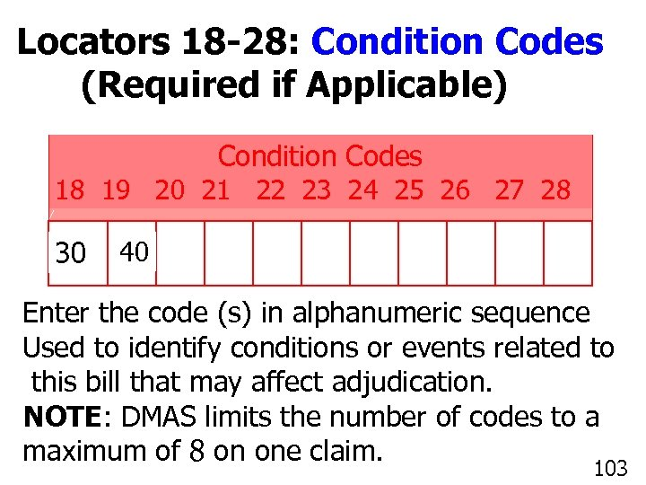 Locators 18 -28: Condition Codes (Required if Applicable) Condition Codes 18 19 20 21