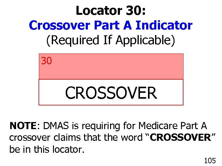 Locator 30: Crossover Part A Indicator (Required If Applicable) 30 CROSSOVER NOTE: DMAS is