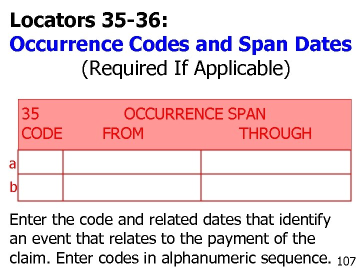 Locators 35 -36: Occurrence Codes and Span Dates (Required If Applicable) 35 CODE OCCURRENCE