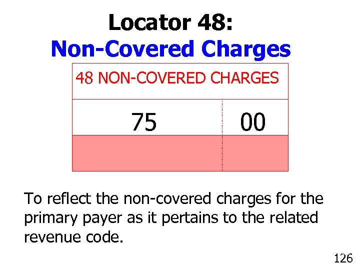 Locator 48: Non-Covered Charges 48 NON-COVERED CHARGES 75 00 To reflect the non-covered charges