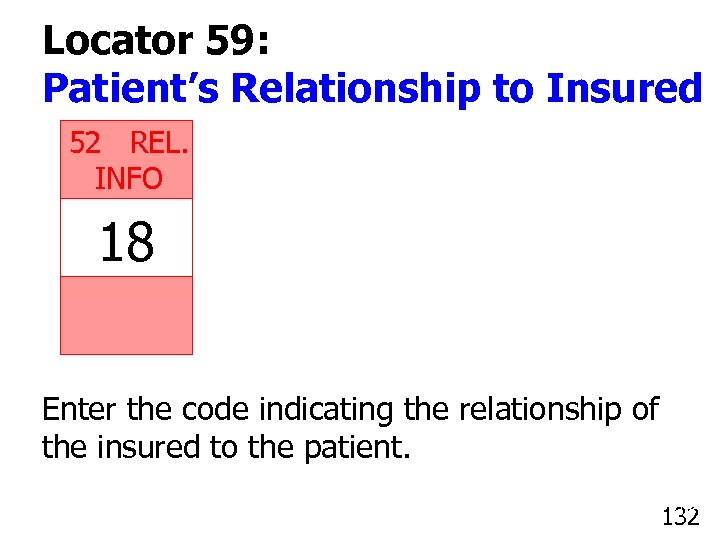 Locator 59: Patient's Relationship to Insured 52 REL. INFO 18 Enter the code indicating