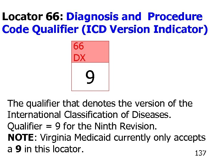 Locator 66: Diagnosis and Procedure Code Qualifier (ICD Version Indicator) 66 DX 9 The