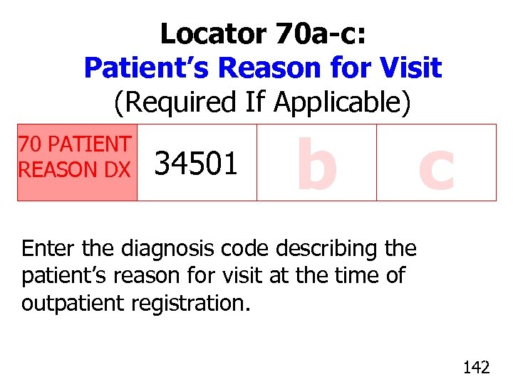 Locator 70 a-c: Patient's Reason for Visit (Required If Applicable) 70 PATIENT REASON DX