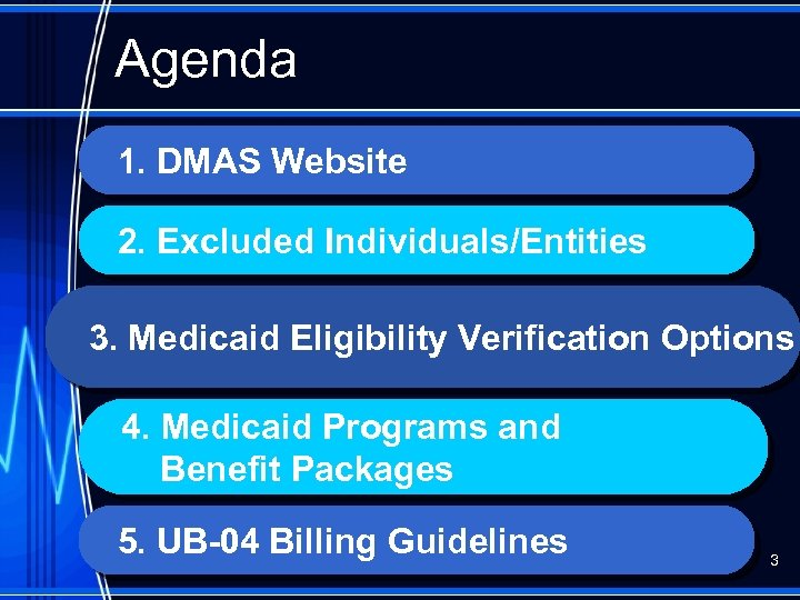 Agenda 1. DMAS Website 2. Excluded Individuals/Entities 3. Medicaid Eligibility Verification Options 4. Medicaid