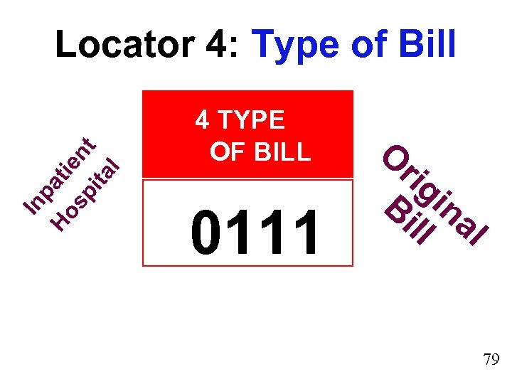 In pa Ho ti sp ent ita l Locator 4: Type of Bill 4
