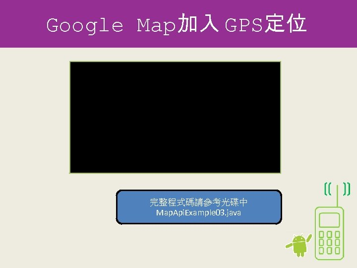 Google Map加入 GPS定位 Geo. Point new. Point = new Geo. Point( longitude. int. Value(),