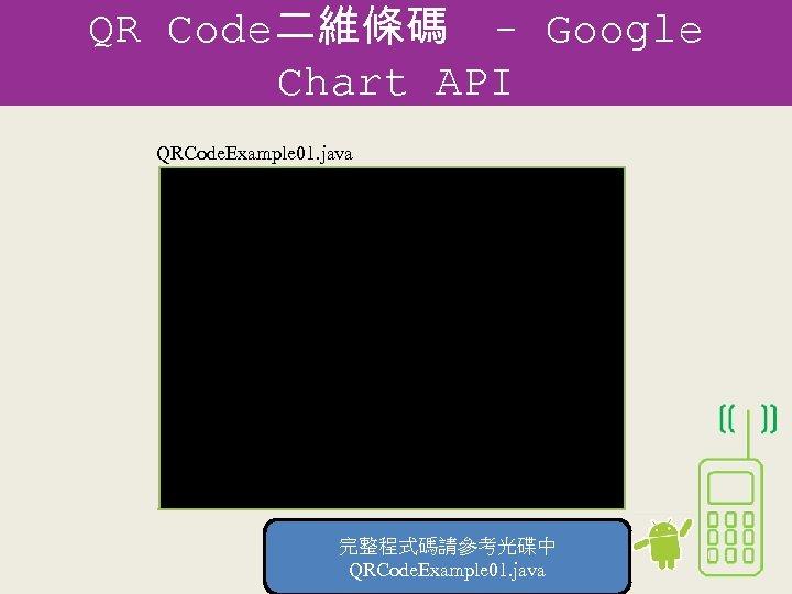 QR Code二維條碼 - Google Chart API QRCode. Example 01. java private Bitmap QRencoder(String input)