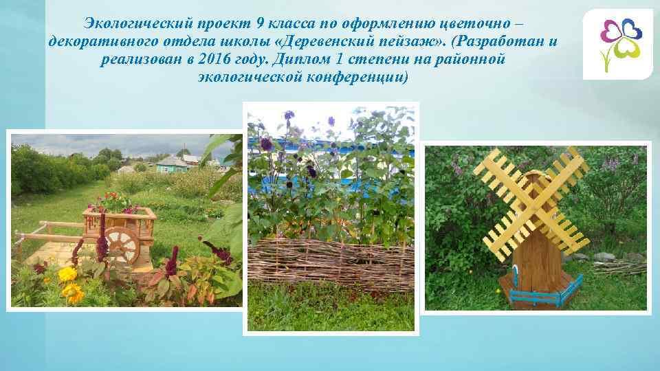Экологический проект 9 класса по оформлению цветочно – декоративного отдела школы «Деревенский пейзаж» .