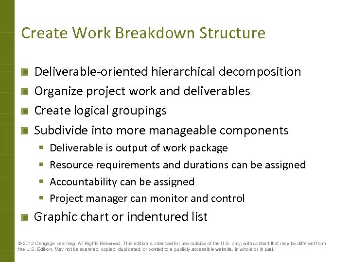 Create Work Breakdown Structure Deliverable-oriented hierarchical decomposition Organize project work and deliverables Create logical