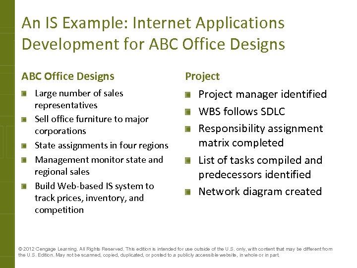 An IS Example: Internet Applications Development for ABC Office Designs Large number of sales