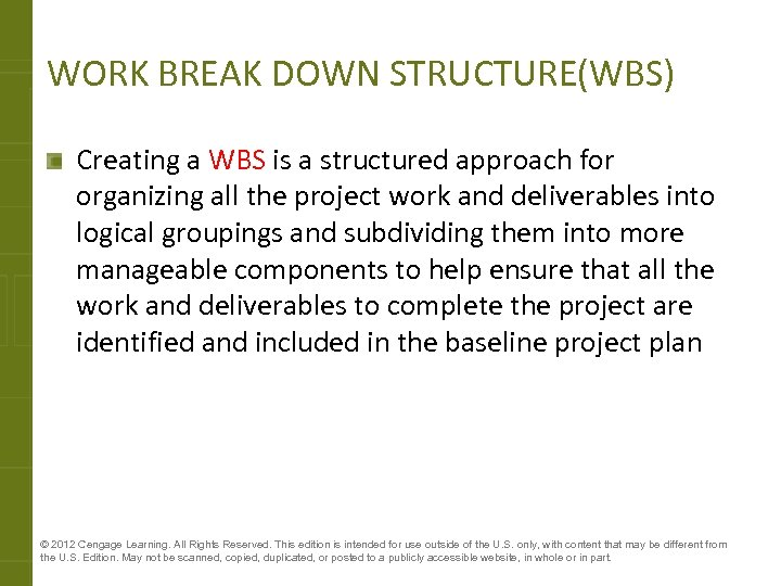 WORK BREAK DOWN STRUCTURE(WBS) Creating a WBS is a structured approach for organizing all