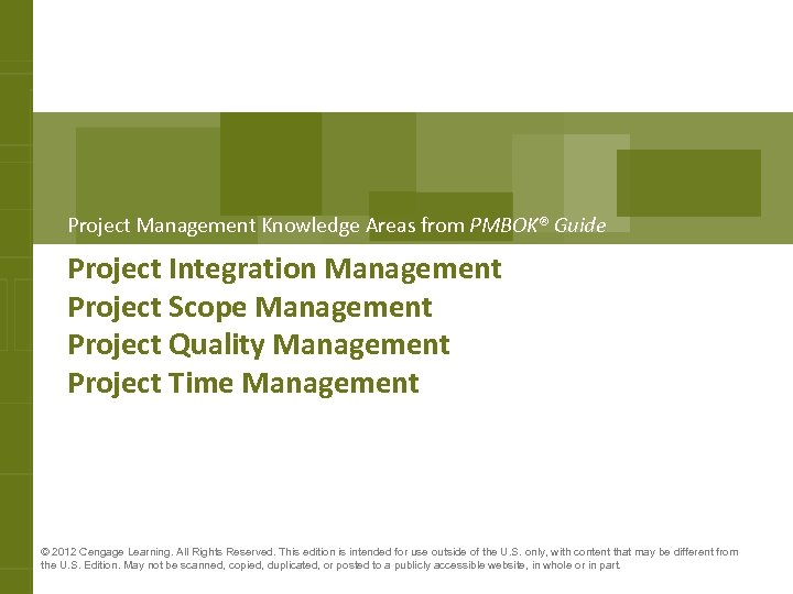 Project Management Knowledge Areas from PMBOK® Guide Project Integration Management Project Scope Management Project
