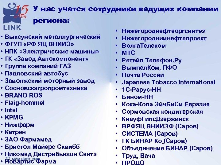 У нас учатся сотрудники ведущих компании региона: • • • • • Выксунский металлургический