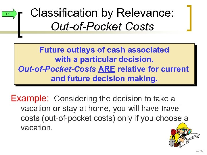 C 1 Classification by Relevance: Out-of-Pocket Costs Future outlays of cash associated with a
