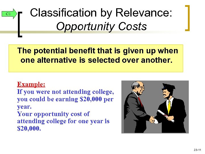 C 1 Classification by Relevance: Opportunity Costs The potential benefit that is given up