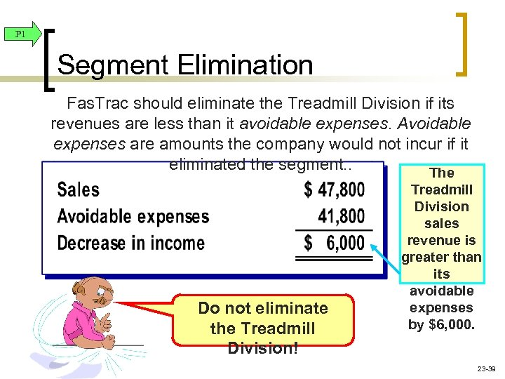 P 1 Segment Elimination Fas. Trac should eliminate the Treadmill Division if its revenues