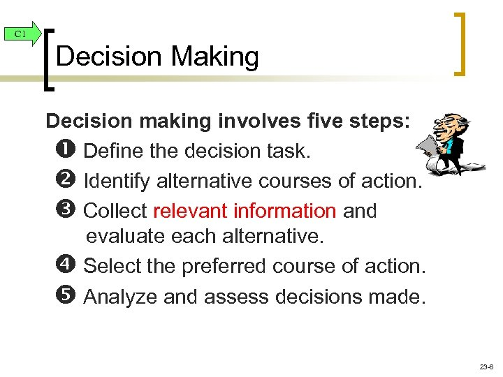 C 1 Decision Making Decision making involves five steps: Define the decision task. Identify