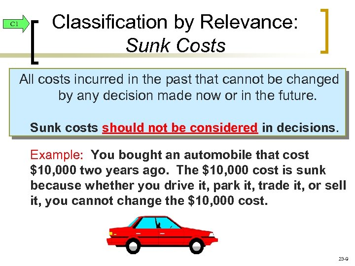C 1 Classification by Relevance: Sunk Costs All costs incurred in the past that