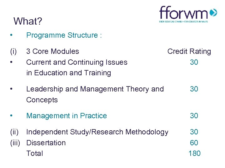 What? • Programme Structure : (i) • 3 Core Modules Current and Continuing Issues