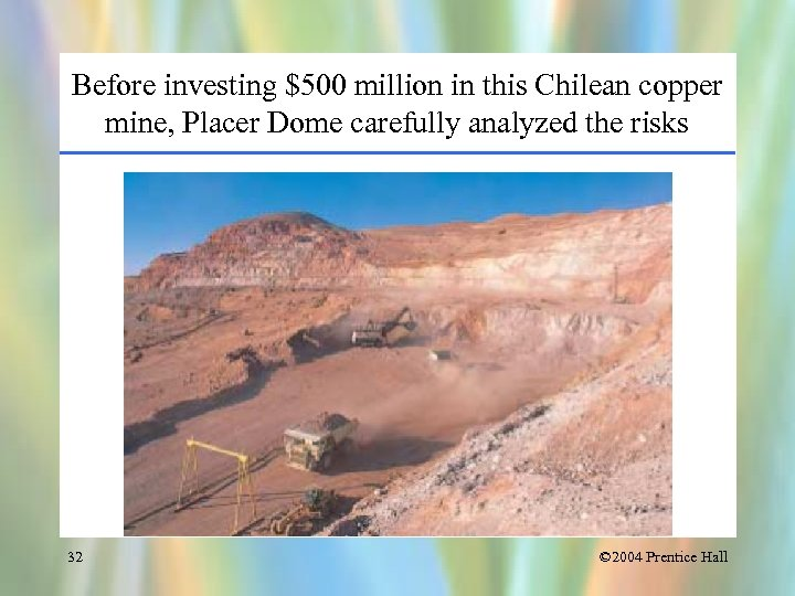 Before investing $500 million in this Chilean copper mine, Placer Dome carefully analyzed the
