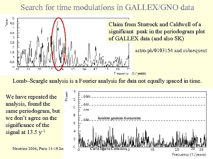 Search for time modulations in GALLEX/GNO data Claim from Sturrock and Caldwell of a