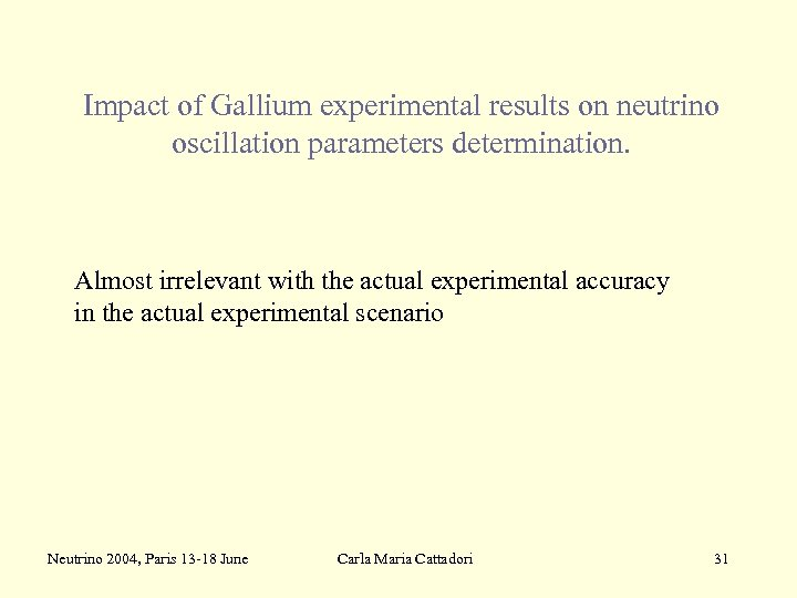 Impact of Gallium experimental results on neutrino oscillation parameters determination. Almost irrelevant with the