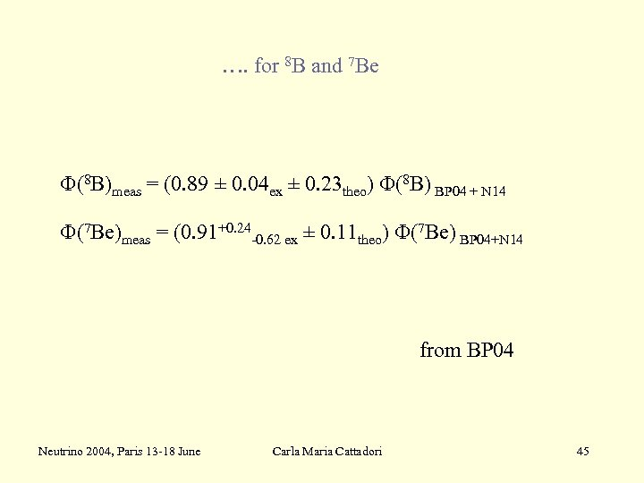 …. for 8 B and 7 Be F(8 B)meas = (0. 89 ± 0.