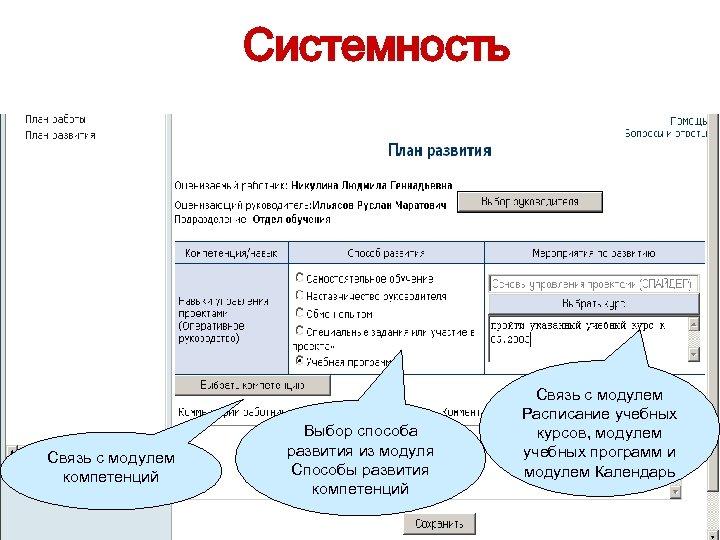 Системность Связь с модулем компетенций Выбор способа развития из модуля Способы развития компетенций Связь