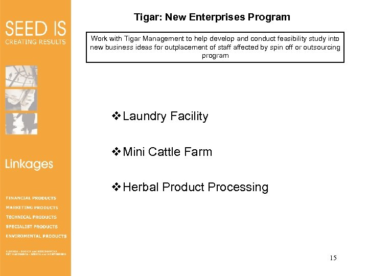 Tigar: New Enterprises Program Work with Tigar Management to help develop and conduct feasibility