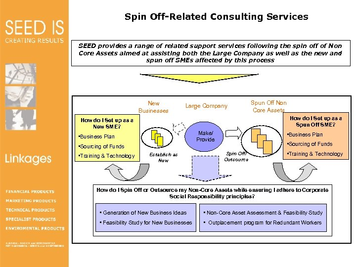 Spin Off-Related Consulting Services SEED provides a range of related support services following the