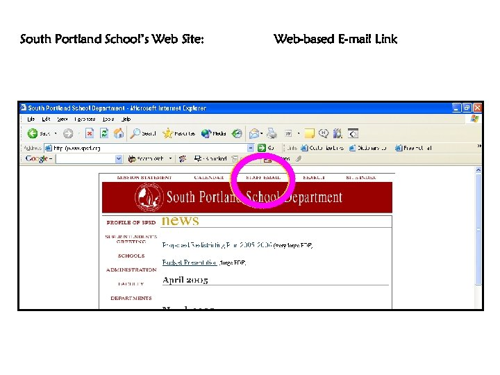South Portland School's Web Site: Web-based E-mail Link