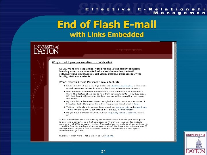 End of Flash E-mail with Links Embedded 21