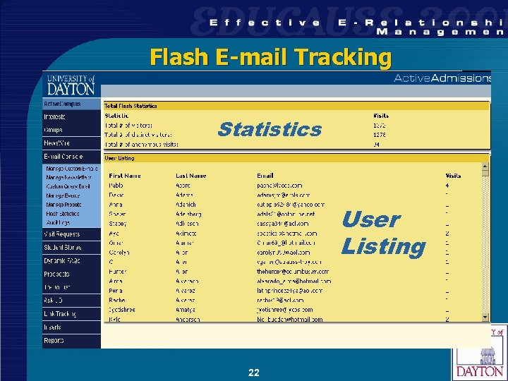 Flash E-mail Tracking Statistics User Listing 22