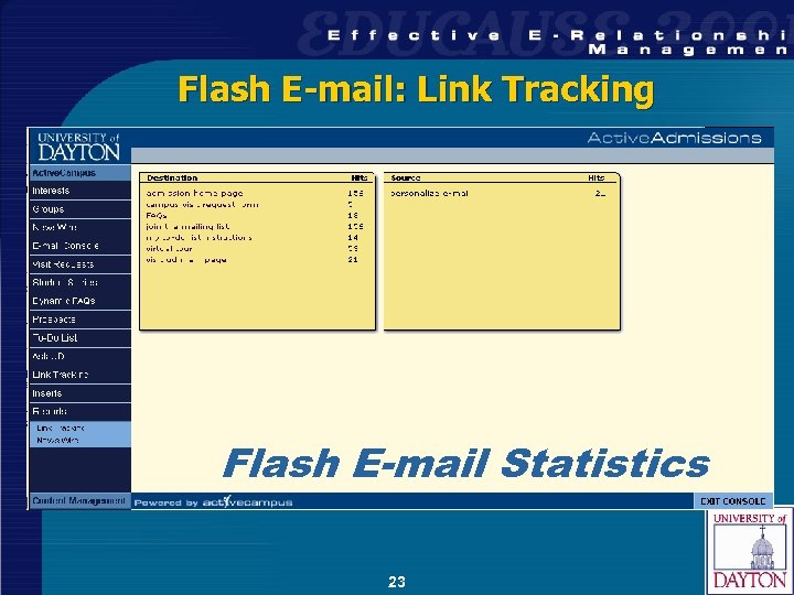 Flash E-mail: Link Tracking Flash E-mail Statistics 23