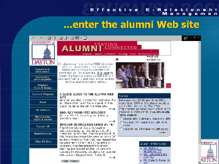 . . . enter the alumni Web site 26