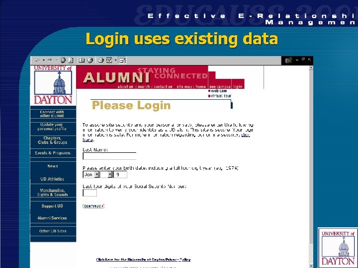 Login uses existing data 27