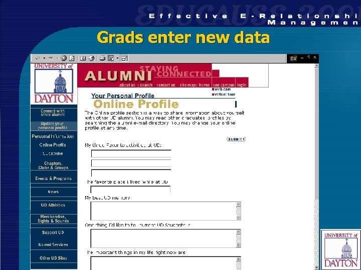 Grads enter new data 29